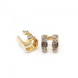 Kolczyki kryształowe dla kobiet modne małe okrągłe kolczyki do uszu złocone i posrebrzane 2 rzędy klipsy Rhinestone bez przekłuw