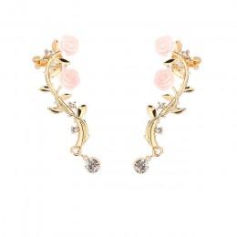 2018 nowy 2 sztuk elegancki kształt kwiatu Rhinestone lewego ucha spinki do mankietów złoty i srebrny kolor Boho kolczyk Ear Stu