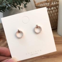 2019 gorąca sprzedaż pełny kryształ górski okrągły wkręt kolczyki dla dziewczyny temperatura prosty styl koło Pendientes moda Bo