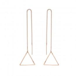 Moda trójkąt serce długie kolczyki Tassel koreański elegancki prosty Metal z cienkim łańcuszkiem minimalistyczny geometryczny ko