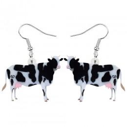 WEVENI akrylowe bydło mleczne krowa kolczyki Drop wisząca biżuteria zwierząt gospodarskich dla kobiet dziewczynki nastolatki Kid
