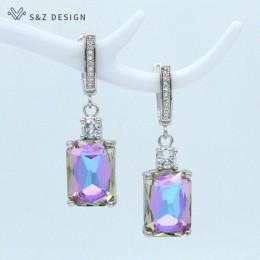 S & Z nowy plac sztuczna kryształ 585 różowe złoto Dangle kolczyki Temperament osobowość dla kobiet Wedding Party biżuteria
