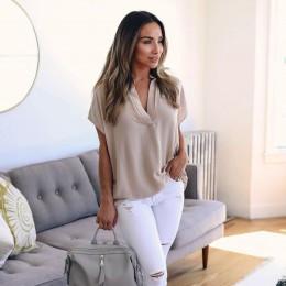 KANCOOLD topy wysokiej jakości panie szyfonowa dekolt v jednolita, krótka rękaw Casual topy T-Shirt letnie topy dla kobiet 2018
