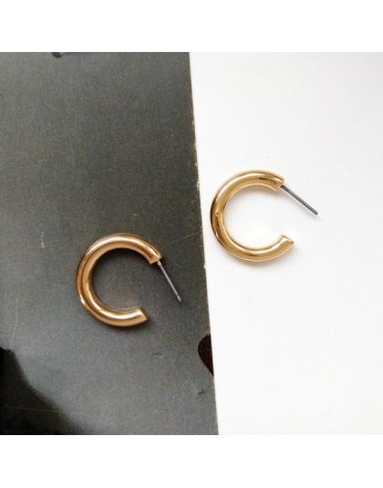 SRCOI elegancki srebrny złoty mała litera C stadniny kolczyki kobiety koreański mody geometryczne kółko w stylu Vintage stadniny