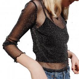Seksowna siatka błyszcząca koszulka z długim rękawem damska wiosna przezroczysta koszulka klubowa czarna koszulka z krótkim ręka