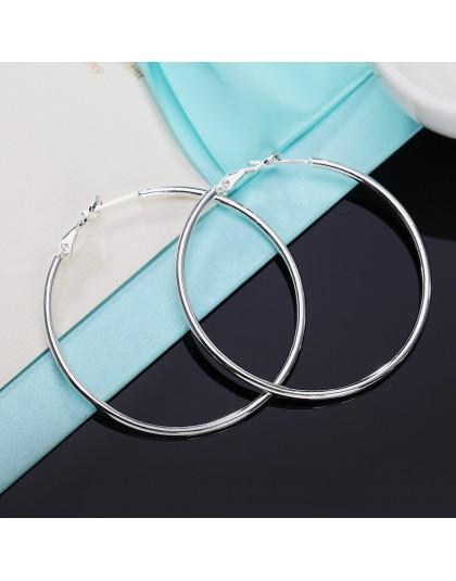 Kobiet 100% 925 srebro kolczyki w kształcie obręczy 40/50/60mm okrągłe koło pętli pudełko na prezenty do pakowania prosty srebrn