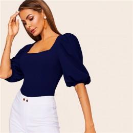 SHEIN bufiaste rękawy solidna dopasowana koszulka elegancki kwadratowy dekolt 3/4 rękaw 2019 lato topy Modern Lady kobiety zwykł