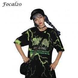"""Focal20 Streetwear kobiety błyskawica list druku t-shirt z dekoltem w kształcie litery """"o"""" letnia sukienka na co dzień luźne T S"""