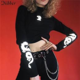 Nibber 2019 moda odblaskowe bawełniane z nadrukiem topy damskie t-shirty gorąca sprzedaż podstawowy czarny biały rozciągliwe dop