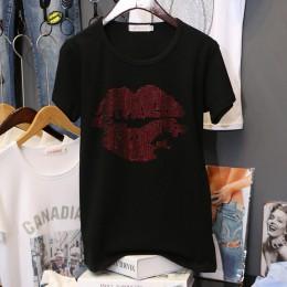 Luźne duże rozmiary 3XL czystej bawełny gorące wiercenia czarne t-shirty damskie z krótkim rękawem lato koreańska wersja Tees to