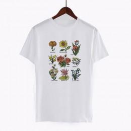 Harajuku Vintage Wildflower Graphic Tshirt kobiety Kawaii Cartoon wegańskie kwiatowy Print koszulkę Femme moda Grunge estetyczne
