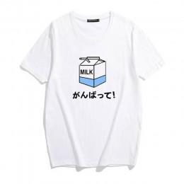 Kawaii Ulzzang Harajuku estetyczny T-shirt mleczny nadruk kreskówkowy z krótkim rękawem topy Tees koreański nowy Fashion Casual