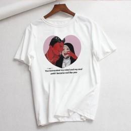 Vintage lato Harajuku diabeł list drukuj zabawa luźna krótka rękaw gotyckie bluzki tees Cartoon Casual Ulzzang kobieta t-shirt p