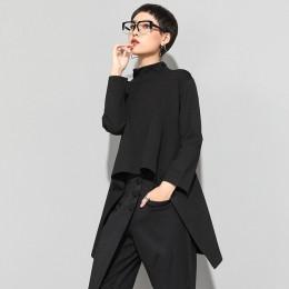 XITAO Vintage czarny golf T koszula kobiety Plus rozmiar Kawaii Casual z długim rękawem nieregularne koszule koreańskie ubrania