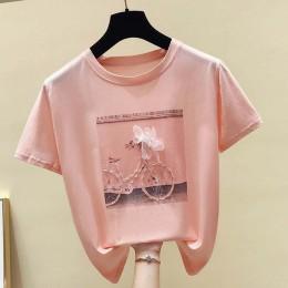 Gkfnmt 2019 moda fajny nadruk kobieta letnia koszulka biała bawełniana damska t-shirty Casual Harajuku T koszula Femme różowy lu