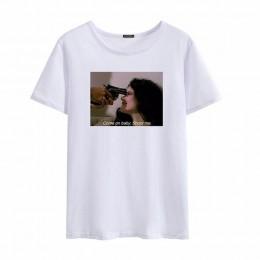Pół diabła pół goddes Harajuku druku litery duży rozmiar koszulki luźne rocznika dorywczo kobiet punk zabawy gothic ciemny o-nec