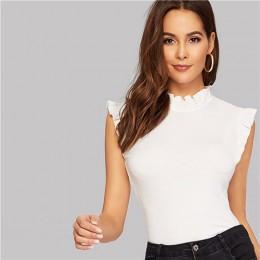 SHEIN Frilled Trim dziurka od klucza powrót blisko dopasowane Tee bez rękawów T-shirt kobiety lato eleganckie stałe stojak kołni
