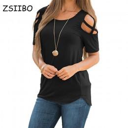 Damska koszulka z krótkim rękawem topy Strappy Top z odkrytymi ramionami Tee kobiety z krótkim rękawem O-neck Top na co dzień Te
