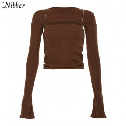 Nibber jesień moda biuro lady hollow knitting topy slim kobiety główna ulica casual t-shirty 2019 proste pełna rękaw Tees mujer