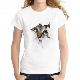 S-3XL 2019 kobiet 3D nadruk kota biały miękki Casual koszulka damska lato z krótkim rękawem Casual wokół szyi tanie ubrania Top
