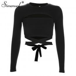 Simenual wyciąć dziurę muszka t-shirty dla kobiet 2018 moda streetwear bawełna jesienna koszula szczupła seksowna seksowna czarn