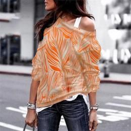 Wiosna jesień t-shirty damskie Sexy Off Shoulder topy w paski wypoczynek z długim rękawem druk geometryczny damski T-shirt Plus