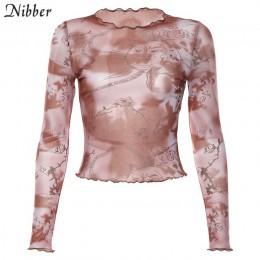 Nibber na co dzień podstawowy z drukuj top koszulki damskie 2019 moda jesień wzburzyć sexy przezroczyste stretch Slim miękkie te