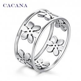 CACANA stalowe pierścienie ze stali nierdzewnej dla kobiet pięć płatków biżuteria sztuczna hurtownia nr R166