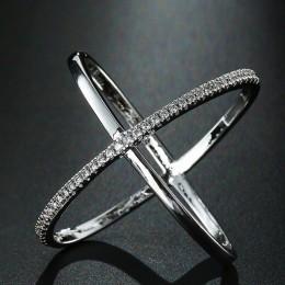 Modyle nowy wielki krzyż cyrkon pierścień moda damska biżuteria znak nieskończoności kobiety pierścionki w kolorze różowego złot