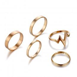 5 sztuk/zestaw New Fashion złoty srebrny błyskawica fala zestaw pierścieni regulowany palec serdeczny dla kobiet dziewczyna prez