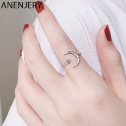 ANENJERY prosta cyrkonia Moon Star 925 srebro pierścionki dla kobiet dziewczyna regulowany rozmiar S-R467