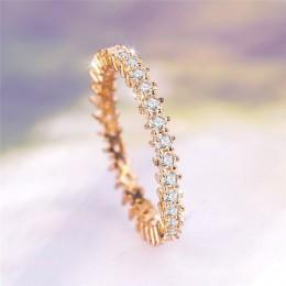 ROMAD kolor srebrny cyrkonia CZ wieżowych pierścień wieczności Trendy biżuteria dla kobiet najlepszy prezent Hot Ring Finger R4