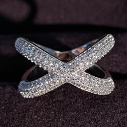 Solidna oryginalna 925 Sterling Silver rings dla kobiet X kształt moda obrączka pierścień wieczności biżuteria świąteczne prezen