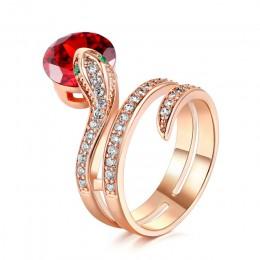 Najwyższa jakość R149 Snake Show pierścionek koralikowy różowe złoto kolor austriackie pomarańczowe kryształy pełne rozmiary pie