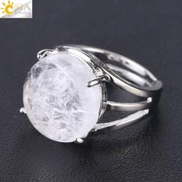 CSJA unikatowy pierścionek z kamieniem naturalnym dla kobiet kule dorywczo pierścionki fioletowy kryształ kwarcowy kolor srebrny
