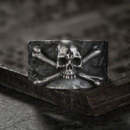 Męskie Vintage Crossbones czaszka ze stali nierdzewnej pierścień grzywny szczegóły biżuteria punk na rower prezent
