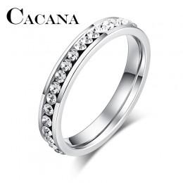 CACANA stalowe pierścienie ze stali nierdzewnej dla kobiet 4mm CZ Surround biżuteria sztuczna hurt