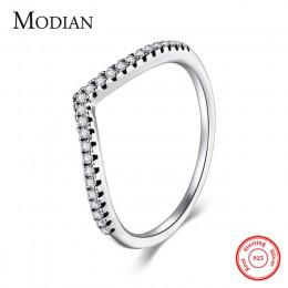 Modian 3 Style prawdziwe 925 Sterling Silver wieżowych prosty pierścień wyczyść CZ moda Instagram biżuteria dla kobiet prezent d
