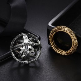 Srebrna piłka astronomiczna etniczna Vintage pierścień rocznica kreatywny palec serdeczny mężczyzn biżuteria prezenty