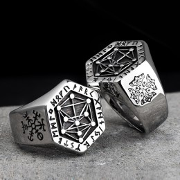 Nordic mitologii Viking rune stalowe pierścienie ze stali nierdzewnej dla mężczyzn i kobiet Kabala totem indeks pierścień biżute