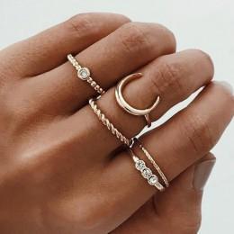 VAGZEB nowe mody złoty kolor Knuckle zestaw pierścieni dla kobiet w stylu Vintage urok palec serdeczny kobiet Party biżuteria pr