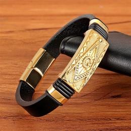 XQNI skórzana bransoletka złoty kolor łatwy hak Totem/geometryczny/wzór skorpiona luksusowa biżuteria na prezent urodzinowy błog