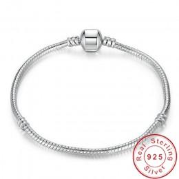 Wielka wyprzedaż urocze oryginalne 925 Sterling srebrny łańcuszek żmijka łańcuch bransoletka i bransoletka luksusowa biżuteria 1
