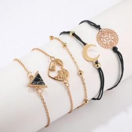 Tocona 5 sztuk/zestawów czeski mapa księżyc bransoletki dla kobiet złoty kolor Hollow serce trójkąt łańcuch bransoletki biżuteri