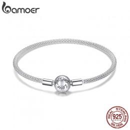 BAMOER Classic 100% 925 Sterling srebrne dla zakochanych wieczna miłość wąż łańcuch bransoletki kobiety srebro biżuteria 17CM 19