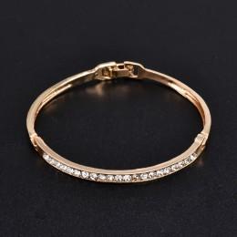 Moda złota stal nierdzewna biały Rhinestone kryształowa bransoletka kobiety Wedding Party bransoletka mankiet biżuteria