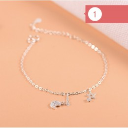 925 srebro Charm bransoletka dla kobiet dziewczyn luksusowa marka serce piękny śliczny Anklet biżuteria Pulseras Mujer