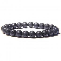 Bransoletka z koralików naturalnych dla kobiet mężczyzn koraliki lawa agaty kwarcowe czakry jogi bransoletki dla kobiet biżuteri