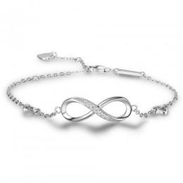 WLP Trendy 925 kolor srebrny nowy 8 kształt geometryczne regulowane bransoletki nieskończoności bransoletki ślubne dla kobiet mo