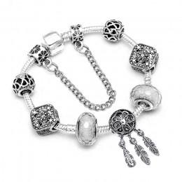 Moda niedźwiedź palmowy łapacz snów z piór uroku bransoletki dla kobiet mężczyzn oryginalne kryształowe kwiaty miłość bransoletk
